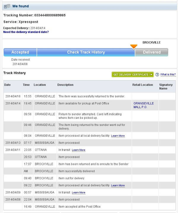 canada post tracking to brockville