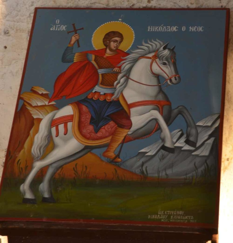 painting of st. nicholas riding white horse