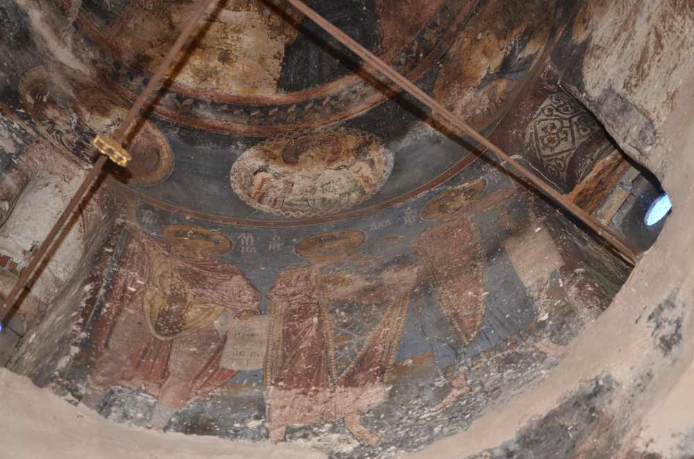 paintings on domed ceiling of st. nicholas church, exarchos, greece