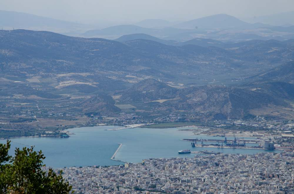 View of the city of Volos and port with mountains in the background