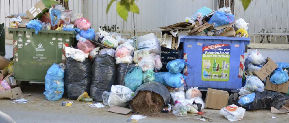 nea ionia athens trash piling up due to striking workers