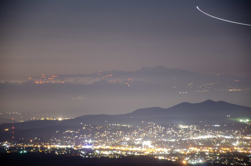 night view of northern suburbs of athens from mount parnitha