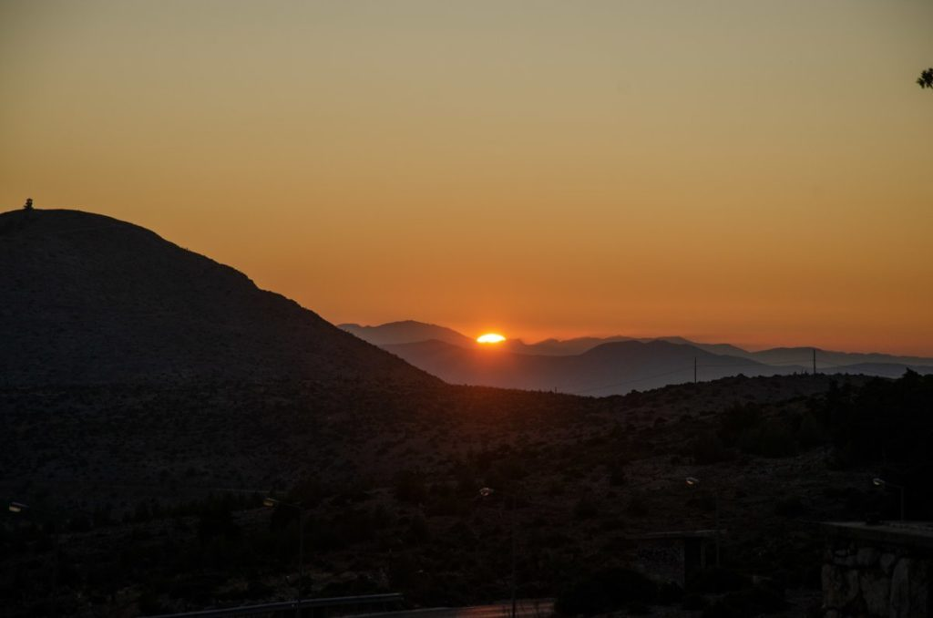 view of sun setting from mount parnitha at Regency Casino