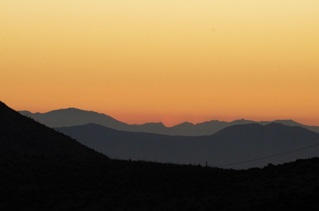 sunset colours in sky from mount parnitha