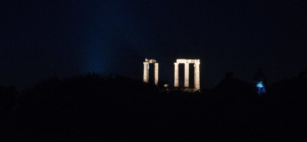 temple of poseidon after dark