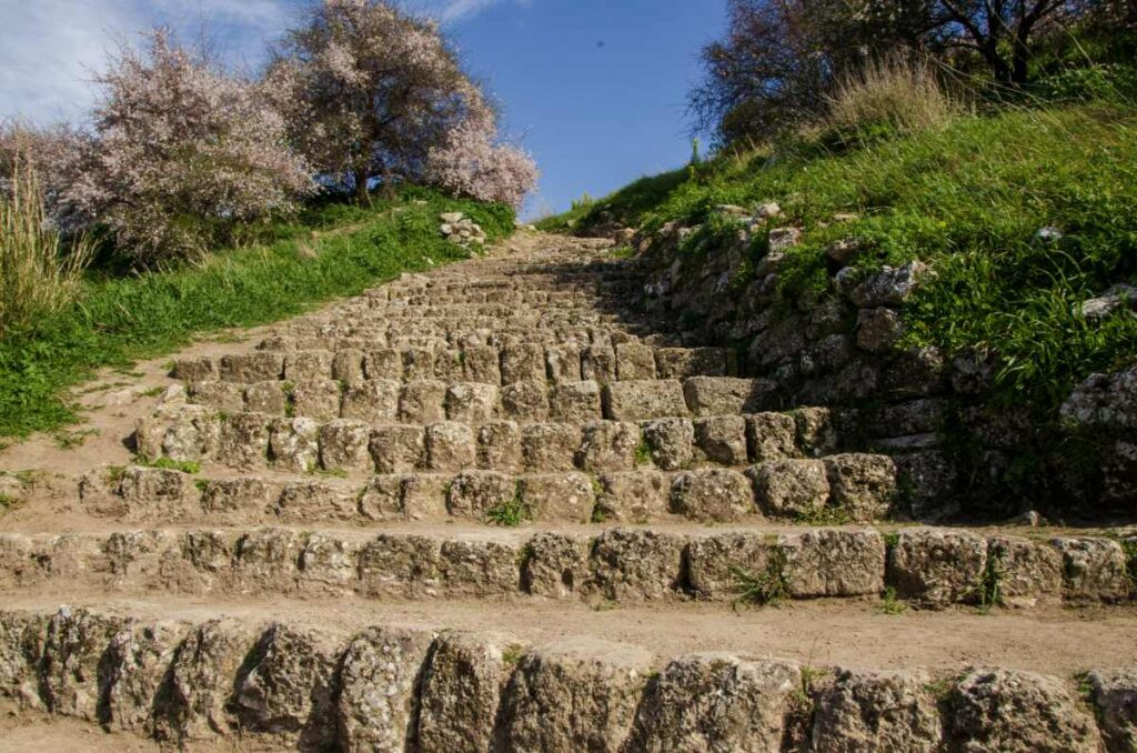 ancient stone stairs inside acrocorinth