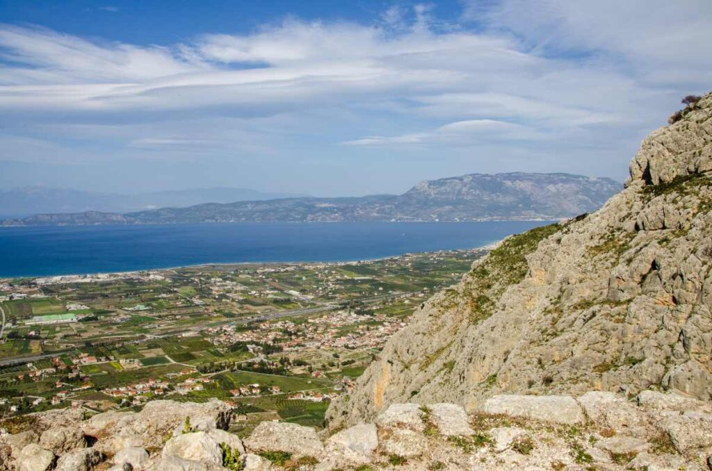 view of gulf of corinth from acrocorinth
