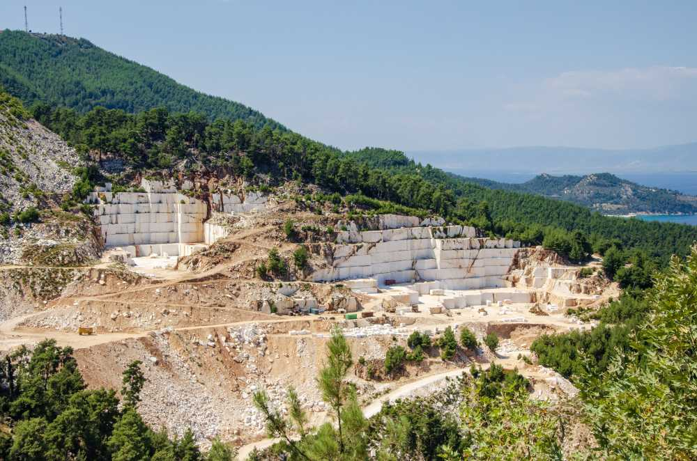 marble quarry on mountain - thassos island