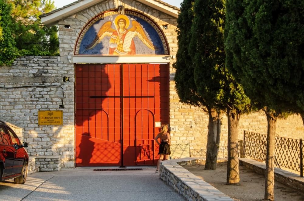 entrance to the monastery of archangel michael on thassos island