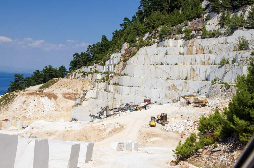 marble quarry activity on thassos island