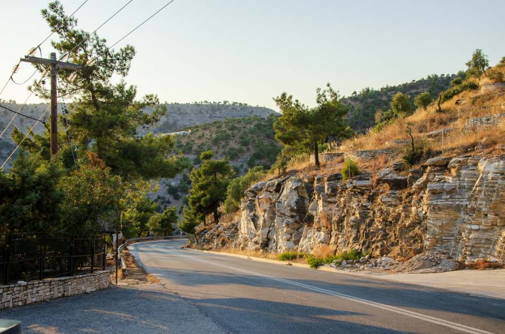 thassos island road near monastery of archangel michael