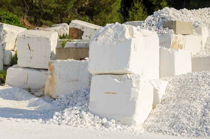 chunks of marble quarried at marble beach